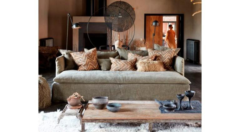 Sofá de lino lavado Boho Verde Kaki
