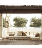 Butaca Bambú con cojín blanco